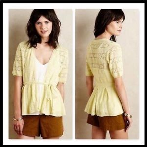 Anthropologie belted lace cardigan yellow S